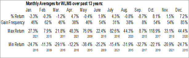 Monthly Seasonal Williams Industrial Services Group Inc. (OTCMKT:WLMS)